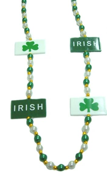 "42"" - Irish Clover Flag Beads Green and White"