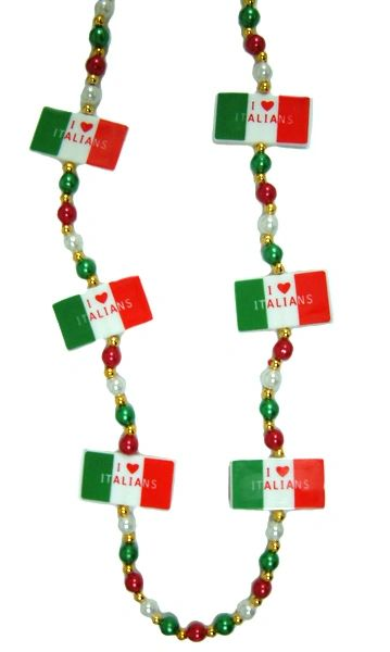 "42"" - I Love Italians Beads Red, White, & Green"
