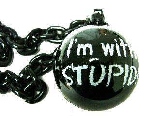 "36"" ""I'm with Stupid"" w/ Black Ball & Chain Beads"