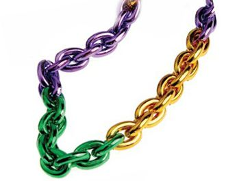 "46"" - Purple Green & Gold Chain Beads"