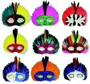 Hand Made Feather Mask 6 pcs.