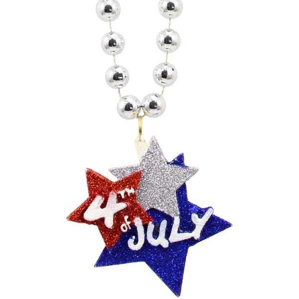 "33"" - 4th of July Glittered Star Bead Necklace"