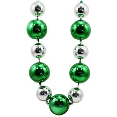 60mm-80mm Big Balls Necklace: Green & Silver