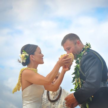 Coconut water sharing Hawaiian wedding ceremony Kauai wedding military wedding nice wedding leis pikake leis