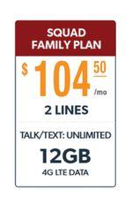 Defense Mobile Non-Veteran 2 Line $104.50 Family Plan