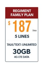 Defense Mobile Non-Veteran 5 Line $187.00 Family Plan