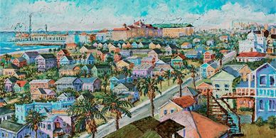 Galveston City View from the Emerald Condos, pleasure pier, colorful houses, homes, hotel galvez