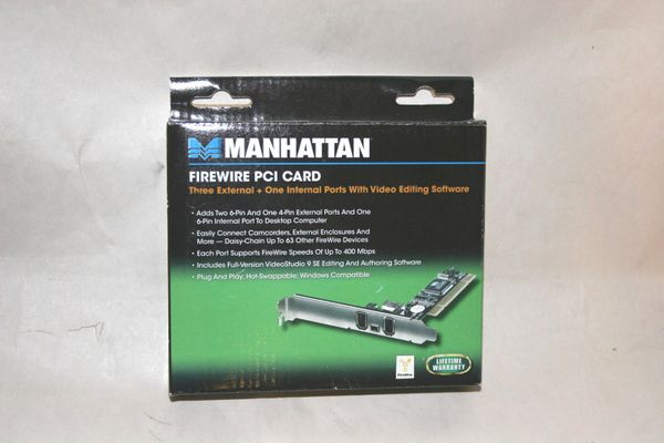 Manhattan Firewire PCI Card - 3 External + 1 Internal Ports w/ Video Editing SW