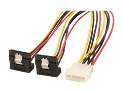 "StarTech PYO2LP4LSATR 12"" LP4 to 2x Right Angle Latching SATA Power Y Cable Splitter - 4 Pin Molex to Dual SATA"