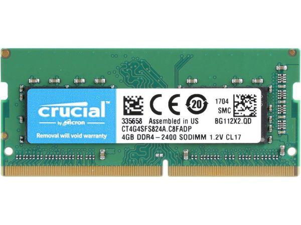Crucial 4GB 260-Pin DDR4 SO-DIMM DDR4 2400 (PC4 19200) Laptop Memory Model CT4G4SFS824A