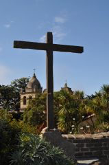 Cross at Carmel Mission Canvas Print 24x36