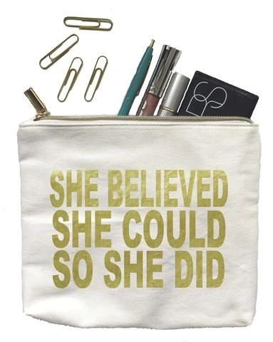 "canvas bag - ""she believed she could so she did"" gold"