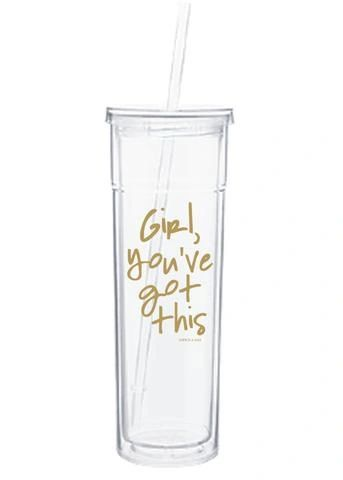 "slim water tumbler by aspen lane - ""girl, you've got this"" gold"