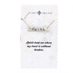 silver faith bar necklace