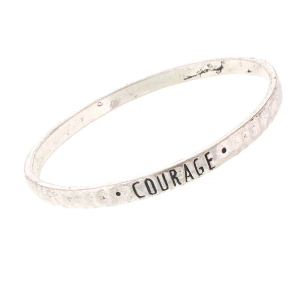 antique silver bangle - courage