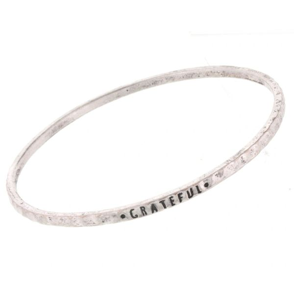 antique silver bangle - grateful