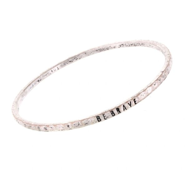 antique silver bangle - be brave