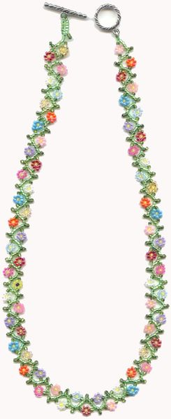 Flowers Vine Necklace Made Of Multi Colors Seed Beads Connie Bonn Jewelry