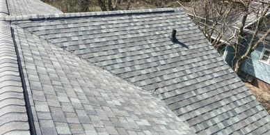 New dimensional roof shingles from a roof replacement by Butler County Roofing.