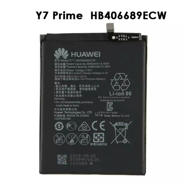Huawei replacement battery for Y7 Prime Holly 4 Plus Enjoy 7 Plus 4000mAh HB406689ECW