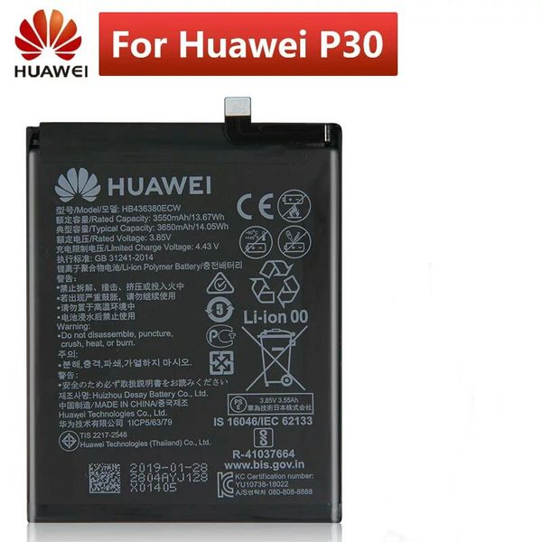 Battery Replacement for Huawei P30 ELE-L09 ELE-L29 ELE-AL00 ELE-TL00 HB436380ECW 3650mAh