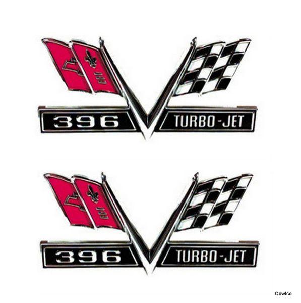 "Big Block ""Turbo-Jet"" Crossed Flag Emblem"
