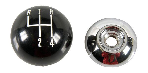 "Black & Chrome 2 Piece 4 Speed Shift Knob 3/8"" Hurst Style"