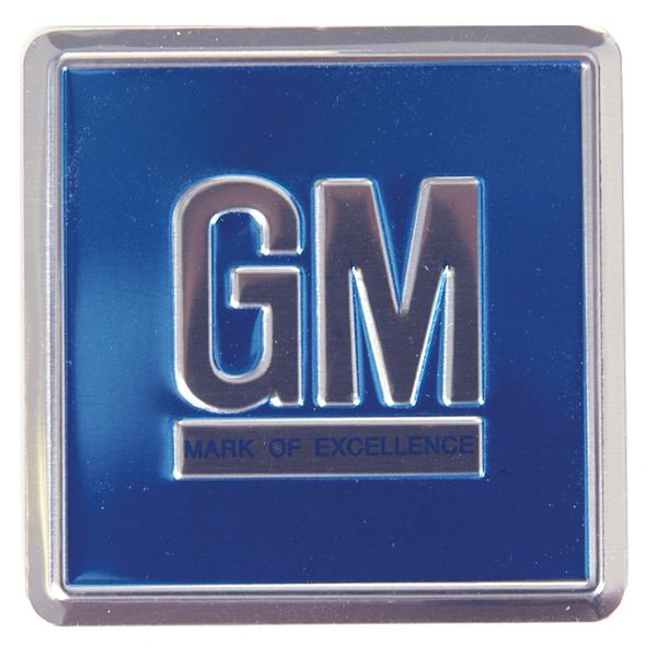 GM Blue colored embossed metal foil door jamb emblem/decal Genuine GM