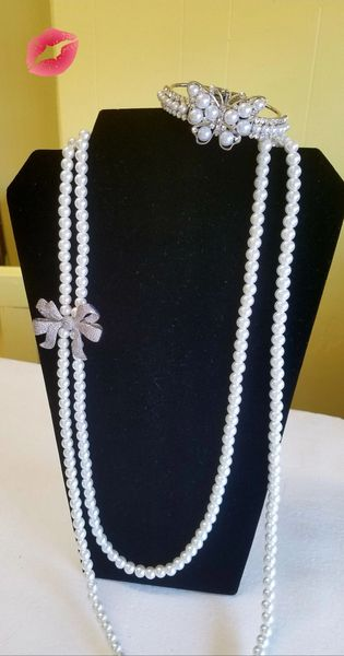 White Pearl w/Bling Silver Bow including and Pearl Butterfly Bracelet