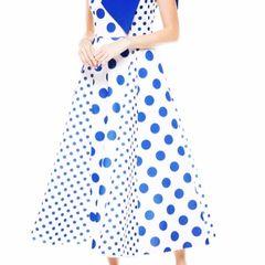 Blue Polka Dot Maxi Dress
