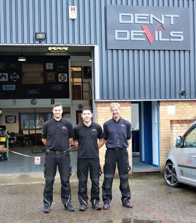 The Dent Devils East Sussex Team at the Paintless Dent Repair workshop facility in Eastbourne, East Sussex