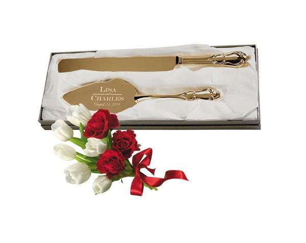 Wedding Cake Server And Knife Set Engraved Gold Tone Server Gold Plated Traditional Cake Server And