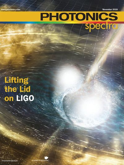 Nov. 2018 Magazine Cover of Photonics Spectra, Lifting the Lid on LIGO by Valerie C. Coffey