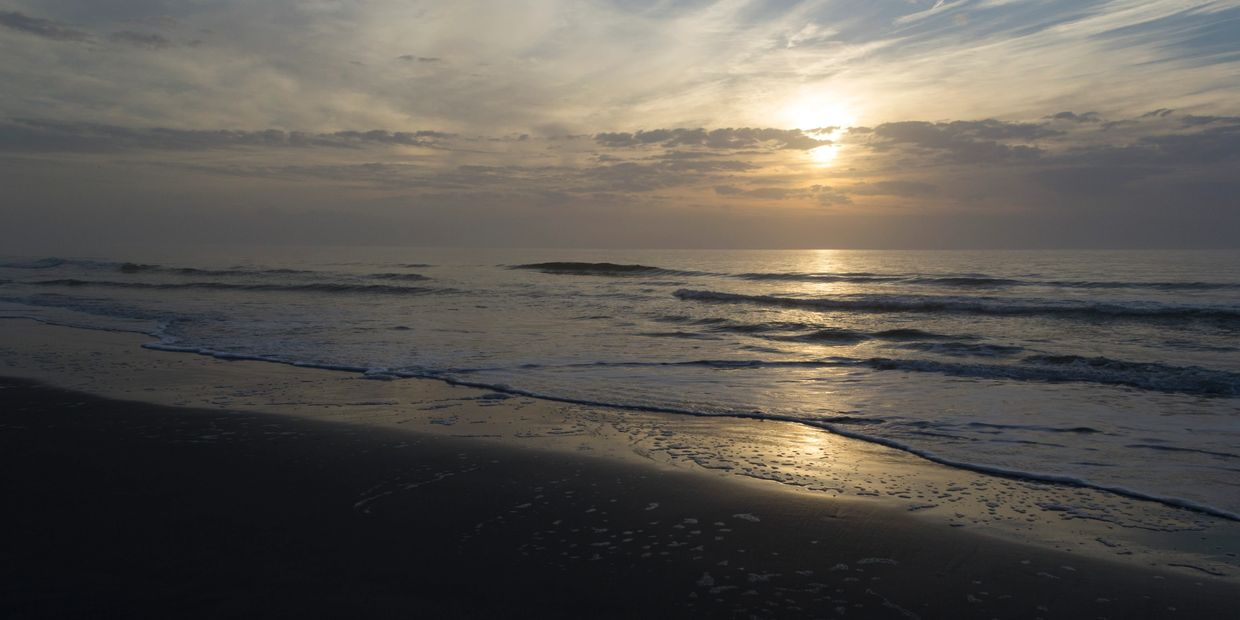 Sunrise over the Atlantic Ocean in South Carolina.