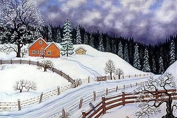 Winter landscape, snow, cabin, forest,