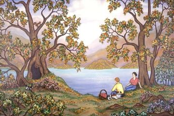 Landscape Picnic by a Lake original painting and fine art prints for sale