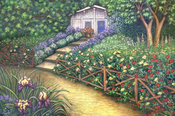 Landscape flower garden original painting and fine art prints for sale by Linda Mears