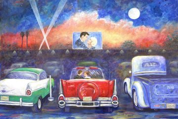 Drive in Movie Theater original painting and fine art prints for sale