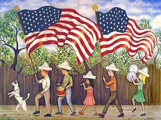 patriotic, children, American flags,