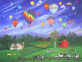 landscape, ballooning, farm, cows, barns, nature, country,