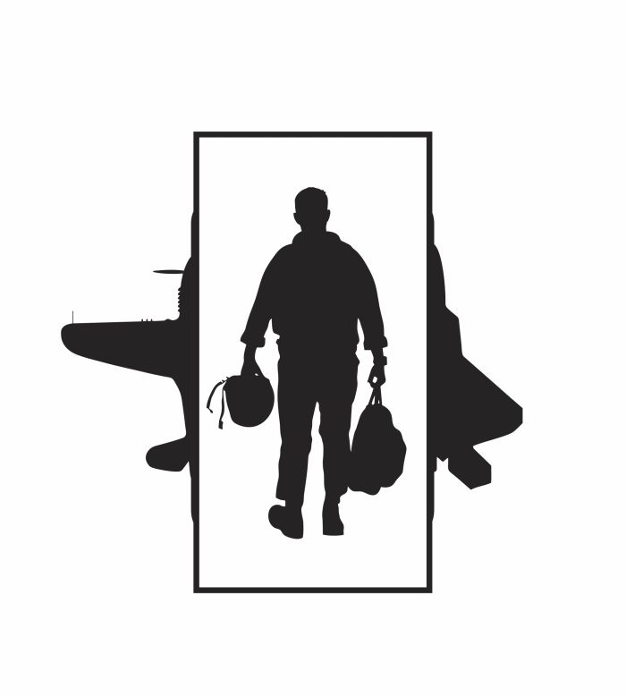 air force pilot silhouette with fighter planes in the background