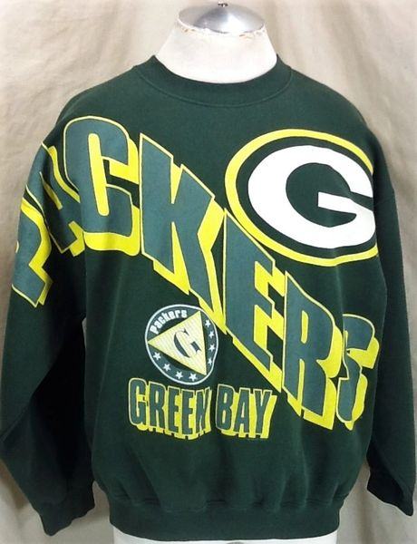 Vintage 90's Green Bay Packers Football Club (L/XL) Retro NFL Graphic Crew Neck Sweatshirt