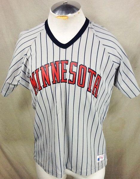 reputable site 151e0 d63a0 Vintage Rawlings Minnesota Twins Pullover (Large) Retro MLB Baseball Pin  Stripe Jersey