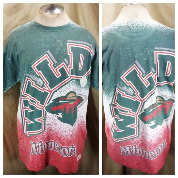 New! Mitchell & Ness Minnesota Wild Hockey Club (Med) Retro NHL All Over Graphic T-Shirt