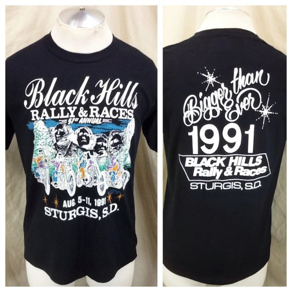 """Vintage 1991 51st Annual Sturgis Rally & Races (Large) Black Hills """"Bigger Than Ever"""" T-Shirt"""