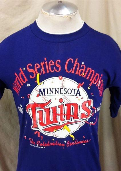 "Vintage 1991 Minnesota Twins ""World Series Champions"" (Med) Retro MLB Baseball Graphic T-Shirt"