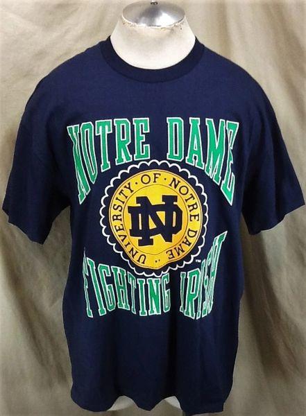 Vintage 90's Logo 7 Notre Dame Fighting Irish (XL) Retro NCAA Graphic Blue T-Shirt