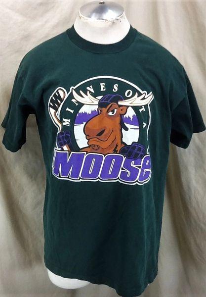 Vintage 90's Minnesota Moose Hockey (XL) Retro American Hockey Association Graphic T-Shirt