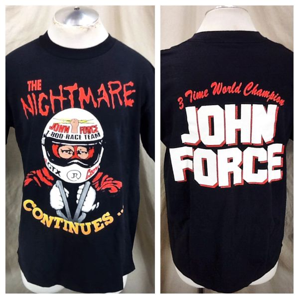 """Vintage John Force """"The Nightmare Continues"""" (Large) 3 Time World Champion Graphic T-Shirt"""