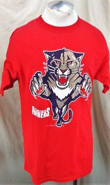 Vintage 1993 Logo 7 Florida Panthers Hockey Club (Large) Retro NHL Graphic Red T-Shirt